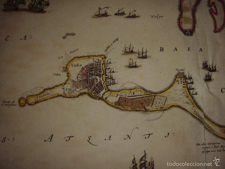Arte: Mapa de Cadiz. 1670. Frederik de Wit. Insula Gaditana vulgo Isla de Cádiz. - Foto 8 - 58197861