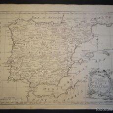 Arte: MAPA DE ESPAÑA Y PORTUGAL, 1770. GIBSON/VAUGONDY. Lote 58216126