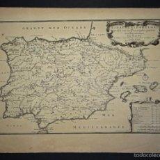 Arte: MAPA DE ESPAÑA Y PORTUGAL, 1705. NICOLÁS DE FER. Lote 58220257