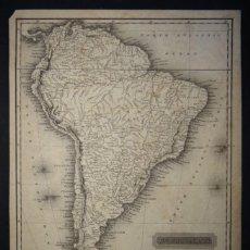 Arte: MAPA DE AMÉRICA DEL SUR, 1817. ARROWSMITH/ HALL. Lote 58271971