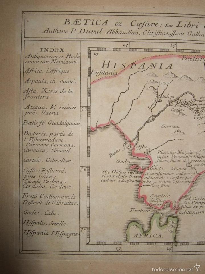 Arte: Mapa de Andalucía romana (España), 1670. Du Val - Foto 4 - 58277007