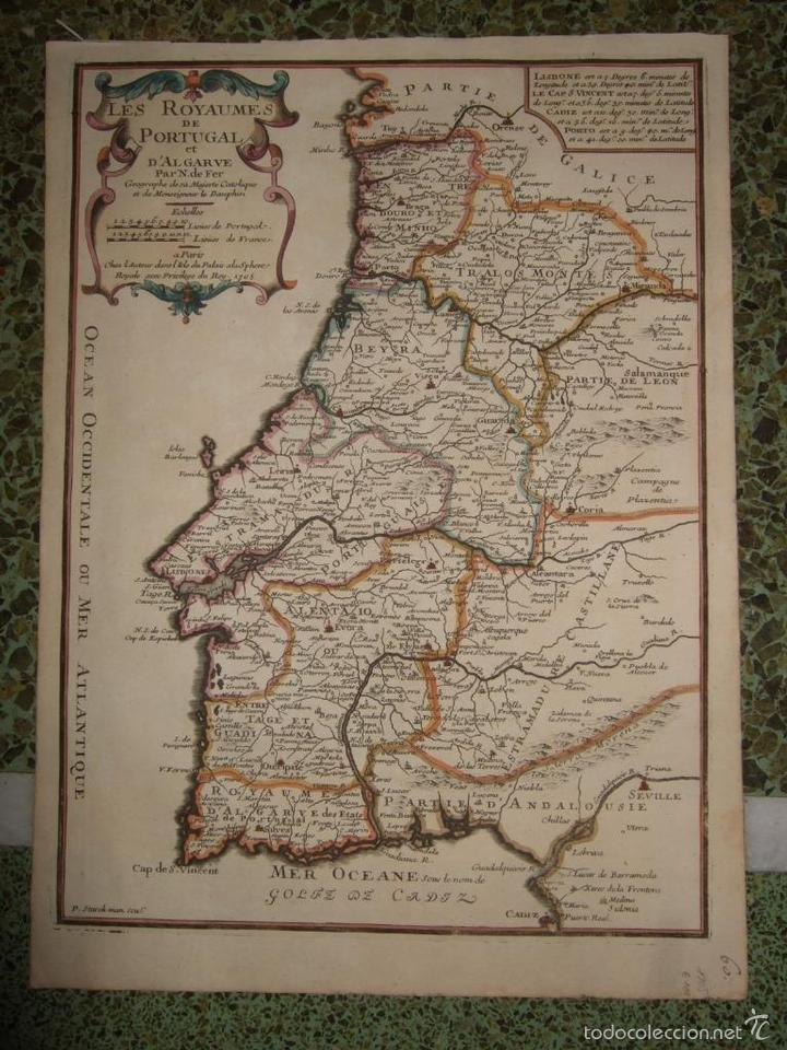 MAPA DE PORTUGAL, 1705. NICOLÁS DE FER (Arte - Cartografía Antigua (hasta S. XIX))