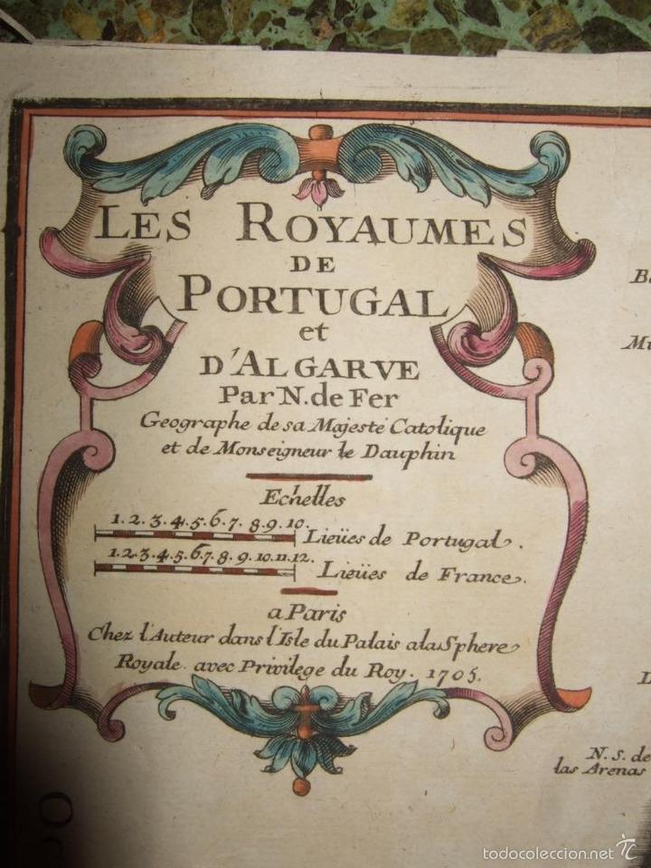 Arte: Mapa de Portugal, 1705. Nicolás de Fer - Foto 2 - 58277899