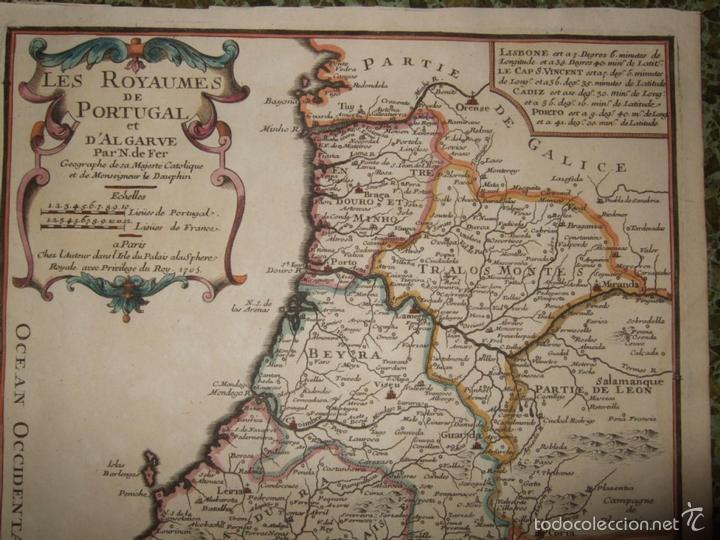 Arte: Mapa de Portugal, 1705. Nicolás de Fer - Foto 4 - 58277899