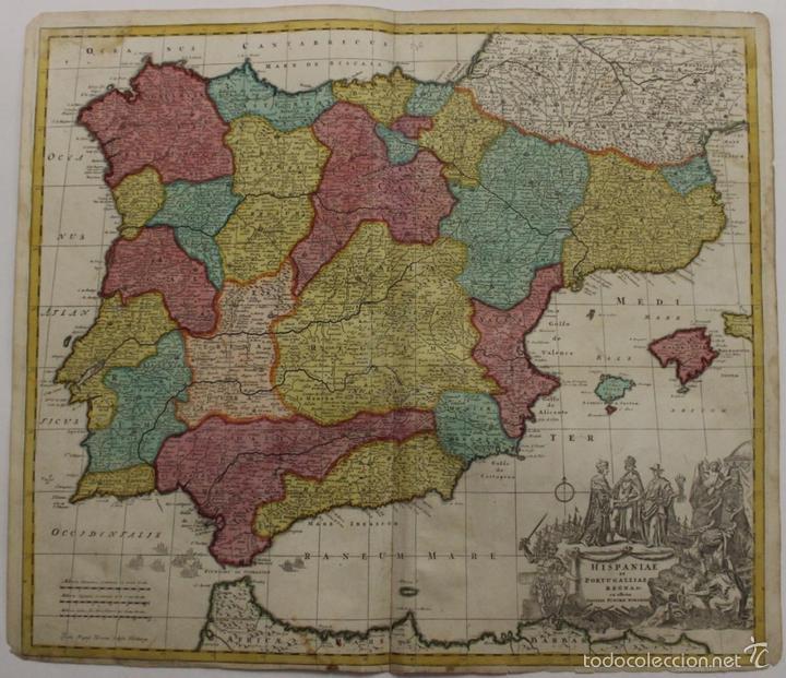 GRAN MAPA DE ESPAÑA Y PORTUGAL, 1730. HOMANN (Arte - Cartografía Antigua (hasta S. XIX))