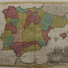 Arte: GRAN MAPA DE ESPAÑA Y PORTUGAL, 1730. HOMANN. Lote 58644518