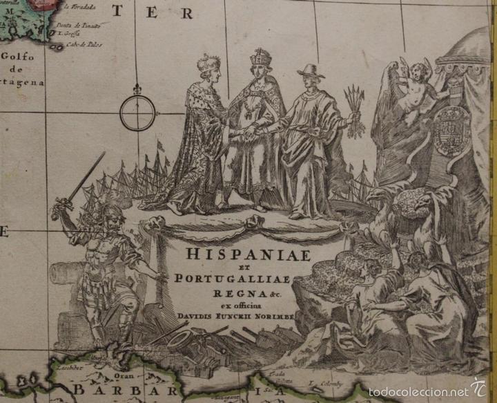Arte: Gran mapa de España y Portugal, 1730. Homann - Foto 2 - 58644518