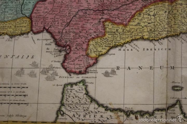 Arte: Gran mapa de España y Portugal, 1730. Homann - Foto 3 - 58644518