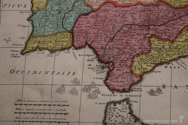 Arte: Gran mapa de España y Portugal, 1730. Homann - Foto 5 - 58644518