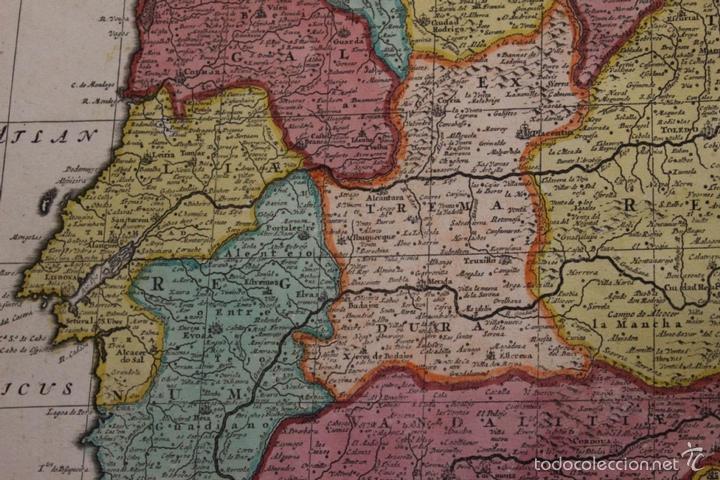 Arte: Gran mapa de España y Portugal, 1730. Homann - Foto 9 - 58644518