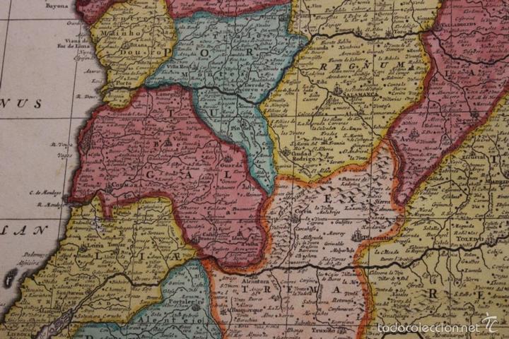 Arte: Gran mapa de España y Portugal, 1730. Homann - Foto 12 - 58644518