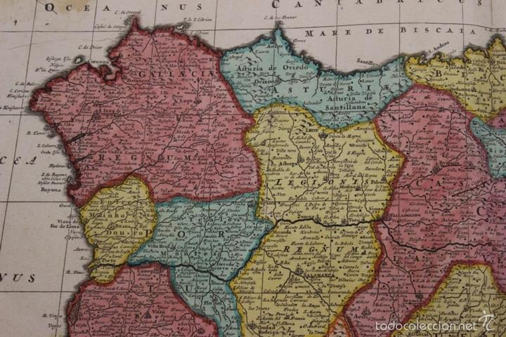 Arte: Gran mapa de España y Portugal, 1730. Homann - Foto 13 - 58644518