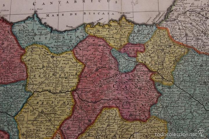 Arte: Gran mapa de España y Portugal, 1730. Homann - Foto 14 - 58644518