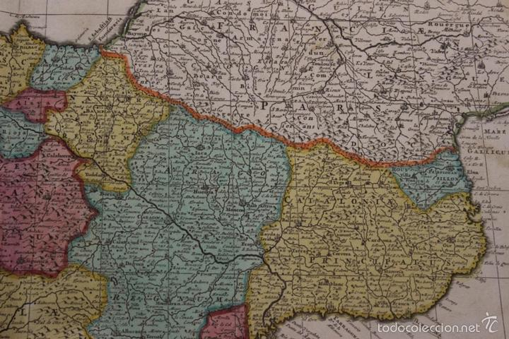 Arte: Gran mapa de España y Portugal, 1730. Homann - Foto 15 - 58644518