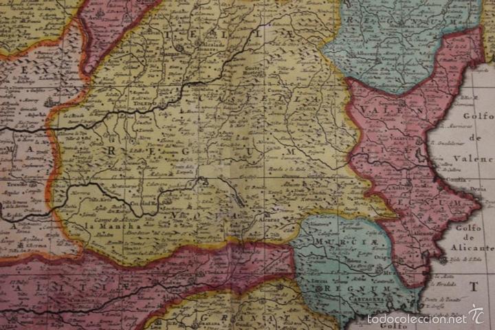 Arte: Gran mapa de España y Portugal, 1730. Homann - Foto 18 - 58644518