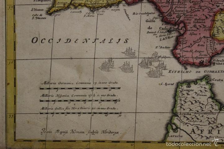 Arte: Gran mapa de España y Portugal, 1730. Homann - Foto 19 - 58644518