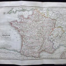 Arte: MAPA DE FRANCIA POR J. B. POIRSON, GRABADO ACERO, COLOREADO A MANO, C. 1830. CARTOGRAFÍA, POLÍTICO. Lote 58771274