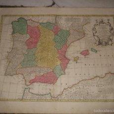 Arte: GRAN MAPA DE ESPAÑA Y PORTUGAL, 1760. LOTTER. Lote 58958645
