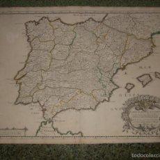 Arte: GRAN MAPA DE ESPAÑA Y PORTUGAL, 1668. SANSON/TAVERNIER. Lote 59075745