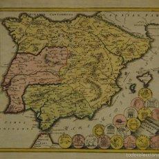 Arte: MAPA ESPAÑA ANTIGUA, SUCRO, ORIGINAL (HISPANIA VETUS NUMIS ILLUSTRATA: KOEHLER, CA. 1720). Lote 59095230