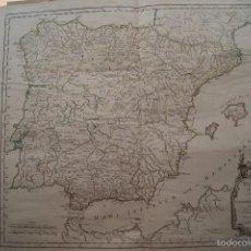 Arte: MAPA ESPAÑA ANTIGUA 1750 ROBERT DE VAUGONDY. Lote 59781868