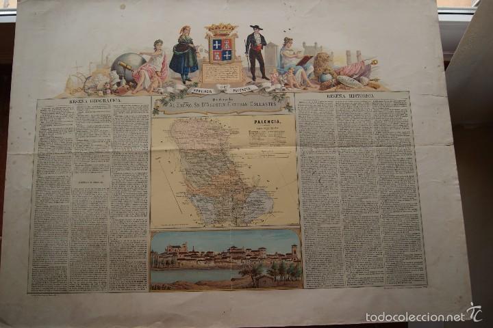 MAPA PROVINCIA DE PALENCIA CON IMAGEN MAPA Y DESCRIPCION (Arte - Cartografía Antigua (hasta S. XIX))