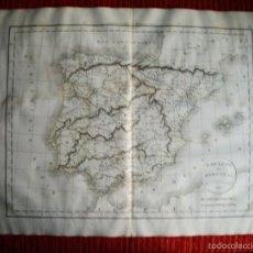 Arte: 1835-MAPA DE ESPAÑA Y PORTUGAL.. POR FÉLIX DELAMARCHE.PARIS.ORIGINAL. Lote 60107927