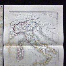 Arte: MAPA DE ITALIA POR L. DUSSIEUX. GRABADO AL ACERO, COLOREADO A MANO, 1860. CARTOGRAFÍA. Lote 61575532