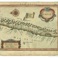 Arte: MAPA DE CHILE (AMÉRICA DEL SUR), 1640. MERCATOR/HONDIUS/JANSONIUS. Lote 64794775