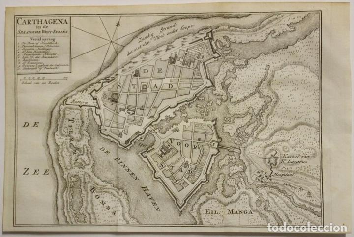 MAPA-PLANO DE LA CIUDAD DE CARTAGENA DE INDIAS (COLOMBIA, AMÉRICA), 1766. TIRION (Arte - Cartografía Antigua (hasta S. XIX))
