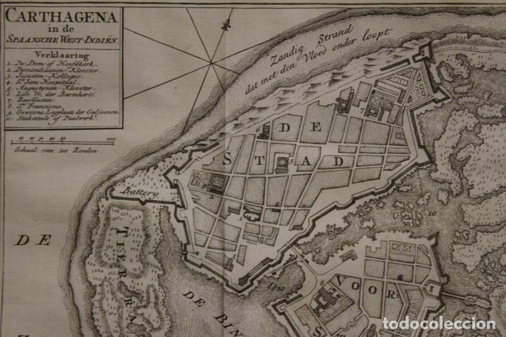 Arte: Mapa-plano de la ciudad de Cartagena de Indias (Colombia, América), 1766. Tirion - Foto 2 - 64872643