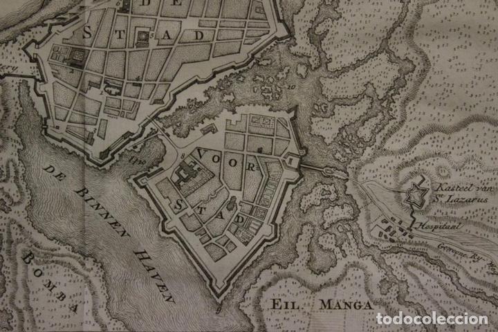Arte: Mapa-plano de la ciudad de Cartagena de Indias (Colombia, América), 1766. Tirion - Foto 4 - 64872643