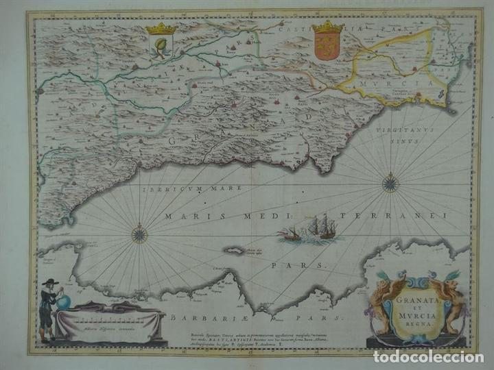 GRAN MAPA DE GRANADA Y MURCIA (ESPAÑA), 1640. JANSSONIUS (Arte - Cartografía Antigua (hasta S. XIX))