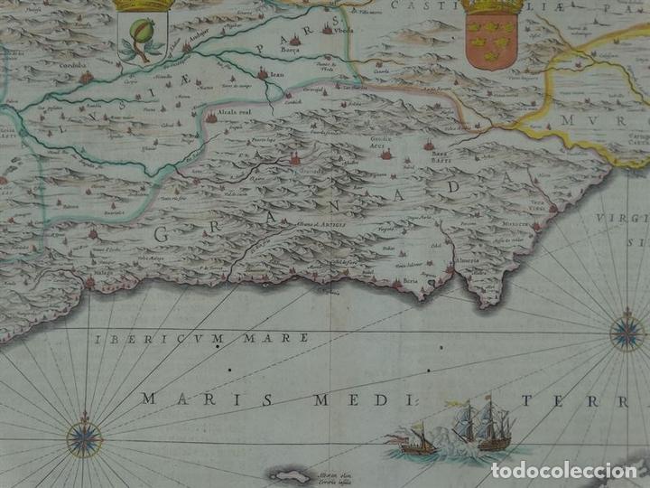 Arte: Gran mapa de Granada y Murcia (España), 1640. Janssonius - Foto 2 - 67270149