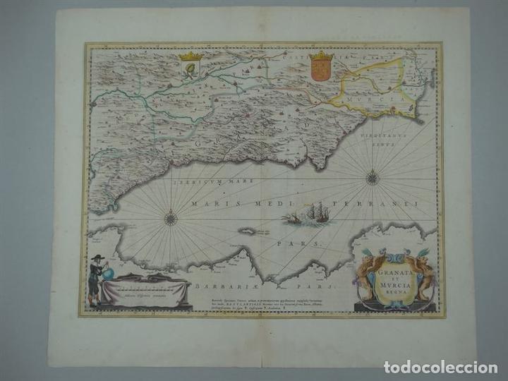 Arte: Gran mapa de Granada y Murcia (España), 1640. Janssonius - Foto 3 - 67270149