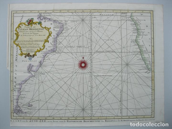 CARTA NAÚTICA A COLOR DEL OCÉANO ATLÁNTICO EN AMÉRICA DEL SUR, 1748. BELLIN (Arte - Cartografía Antigua (hasta S. XIX))