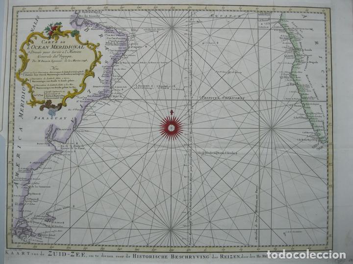 Arte: Carta naútica a color del océano Atlántico en América del Sur, 1748. Bellin - Foto 2 - 67582429