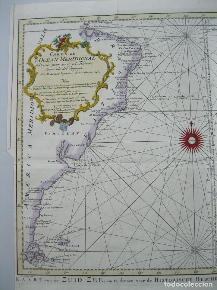Arte: Carta naútica a color del océano Atlántico en América del Sur, 1748. Bellin - Foto 3 - 67582429