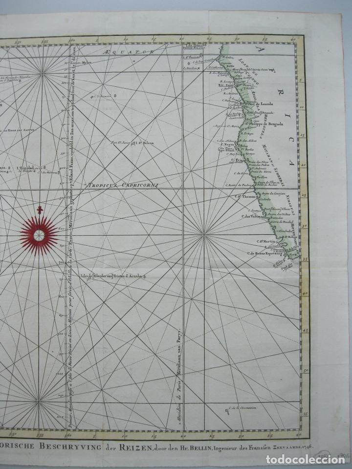 Arte: Carta naútica a color del océano Atlántico en América del Sur, 1748. Bellin - Foto 4 - 67582429