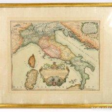 Arte: MAPA DE ITALIA, AÑO 1695, GIACOMO CANTELLI, COLOREADO. MARCO: 39X32 CM.. Lote 68092317