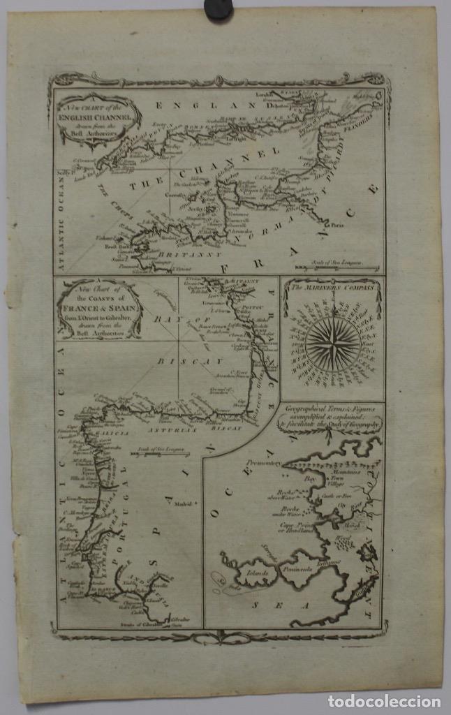 MAPA ESPAÑA, PORTUGAL Y DEL CANAL DE LA MANCHA, 1782. KITCHIN (Arte - Cartografía Antigua (hasta S. XIX))