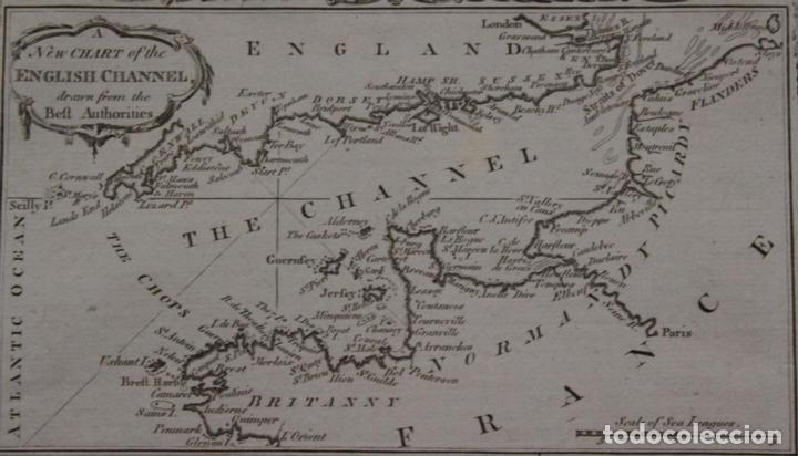 Arte: Mapa España, Portugal y del Canal de la Mancha, 1782. Kitchin - Foto 2 - 68117941
