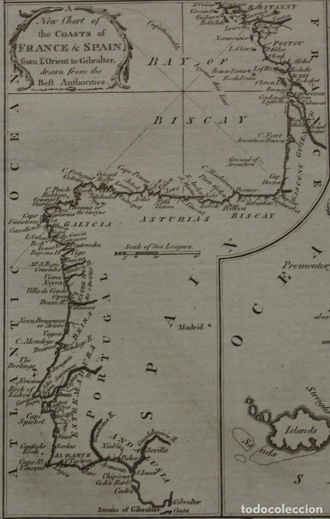 Arte: Mapa España, Portugal y del Canal de la Mancha, 1782. Kitchin - Foto 3 - 68117941