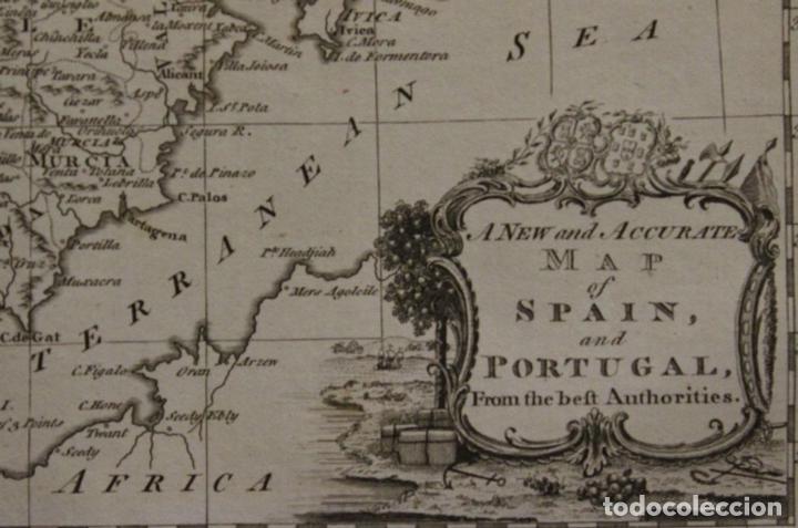 Arte: Mapa de España y Portugal, 1778. Thomas Conder /Moore - Foto 2 - 68128689
