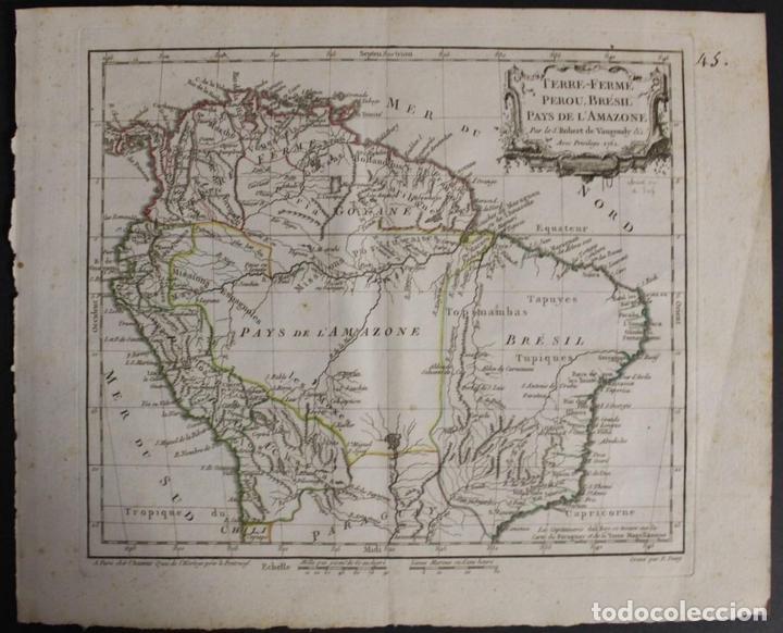 MAPA DE BRASIL, COLOMBIA, VENEZUELA,.. 1762. VAUGONDY/ARRIVET (Arte - Cartografía Antigua (hasta S. XIX))