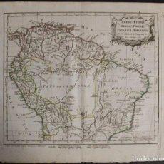 Arte: MAPA DE BRASIL, COLOMBIA, VENEZUELA,.. 1762. VAUGONDY/ARRIVET. Lote 68833693