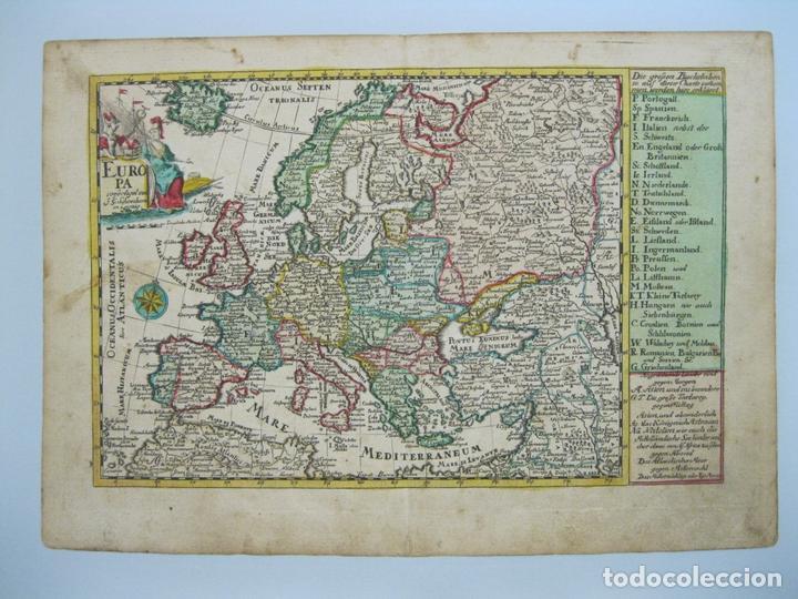 MAPA DEL CONTINENTE EUROPEO, 1750. SCHREIBER (Arte - Cartografía Antigua (hasta S. XIX))