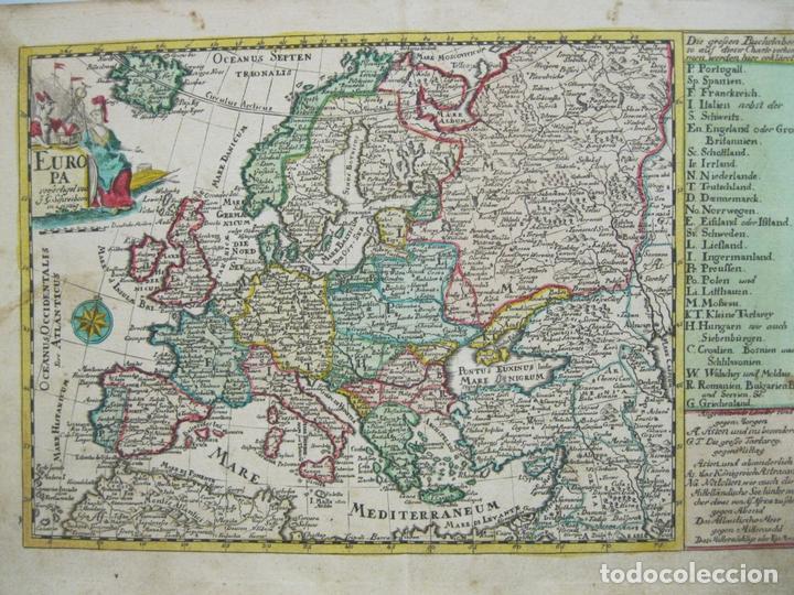 Arte: Mapa del continente europeo, 1750. Schreiber - Foto 3 - 68995269