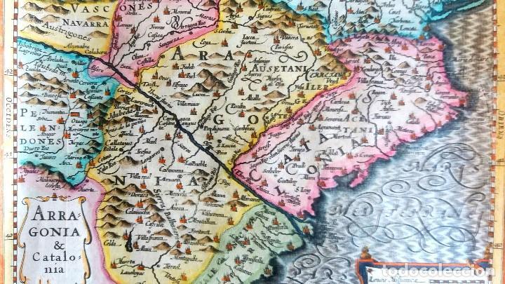 Arte: Mapa antiguo Cataluña y Aragón con certif. autent. año 1632 . Mapas antiguos Aragón y Cataluña - Foto 3 - 69011337