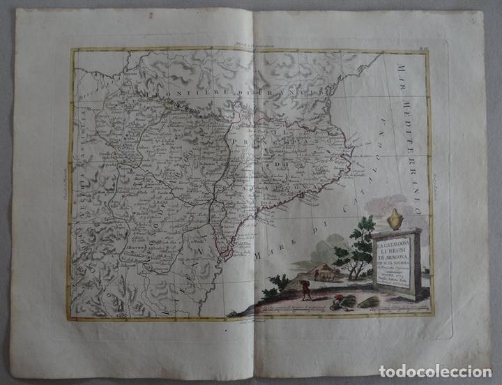 MAPA DE CATALUÑA, ARAGÓN, NAVARRA... (ESPAÑA)I, 1776. ZATTA (Arte - Cartografía Antigua (hasta S. XIX))